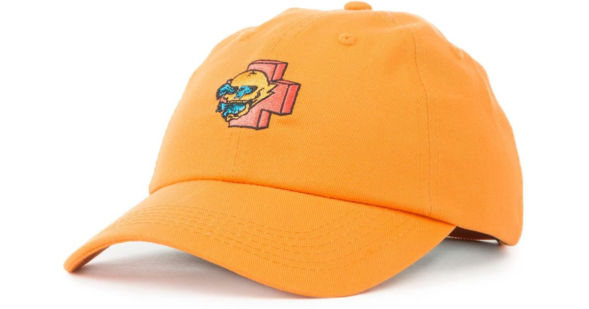 0ea7a987ab2 Lyst - Pink Dolphin The Wave Skull Snapback in Orange for Men