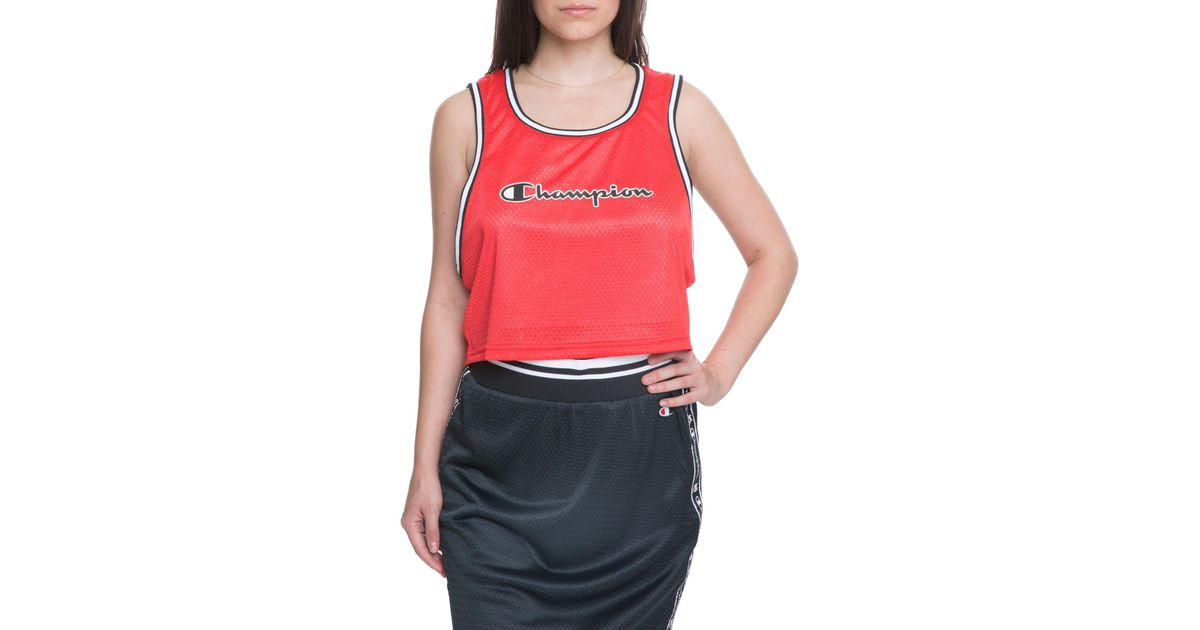 17d9c70037f276 Lyst - Champion The Women s Reversible Mesh Cropped Tank in Red