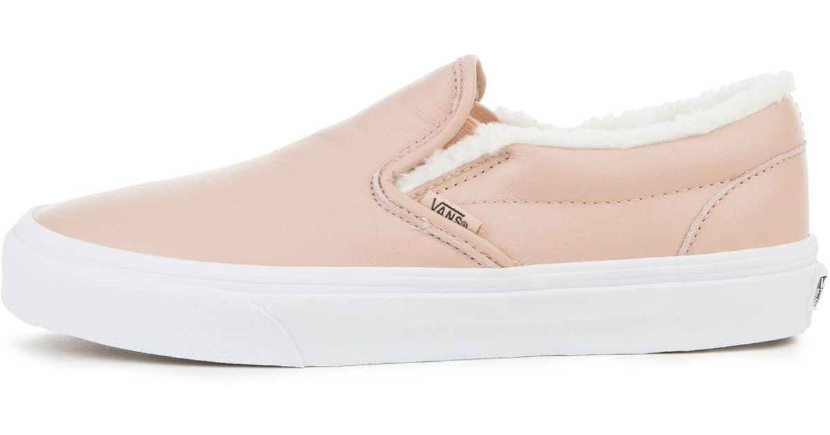 f583274474 Lyst - Vans The Women s Leather Classic Slip-on In Mahogany Rose And True  White in Pink