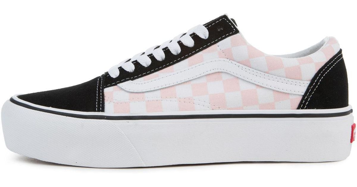 43169f799b1832 Lyst - Vans The Women s Old Skool Platform In Checkerboard Black And Pink  Dogwood in Black