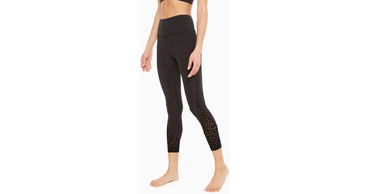 ec9215ac3d97 Kate Spade Leopard Mesh Legging in Black - Save 30% - Lyst