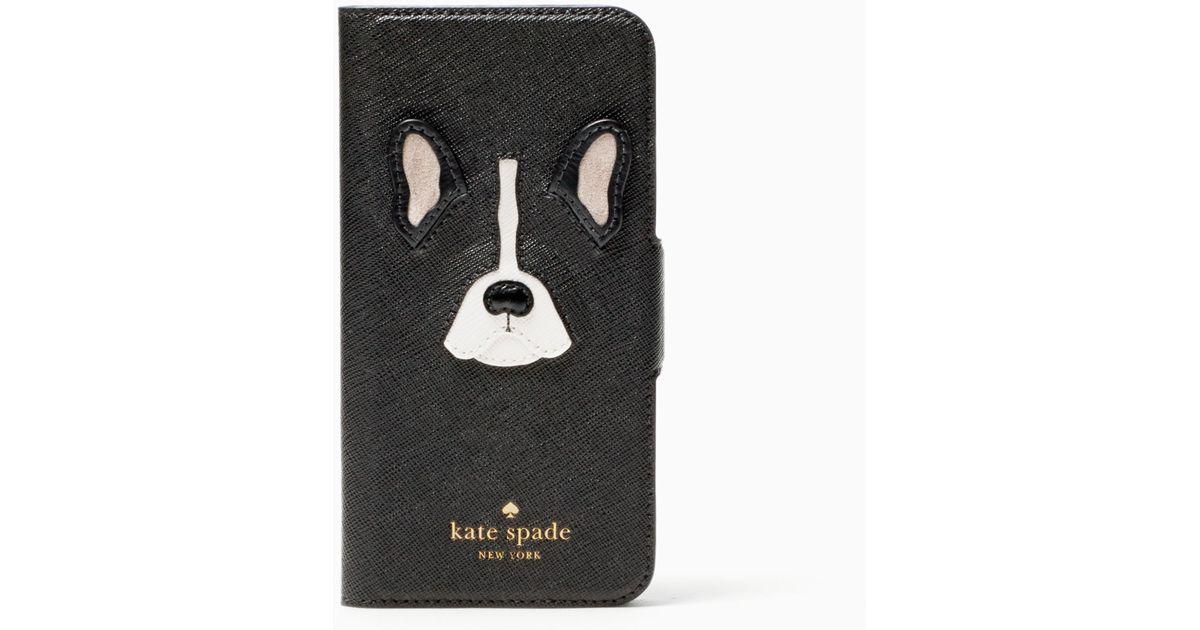Kate spade antoine applique folio iphone case in black lyst