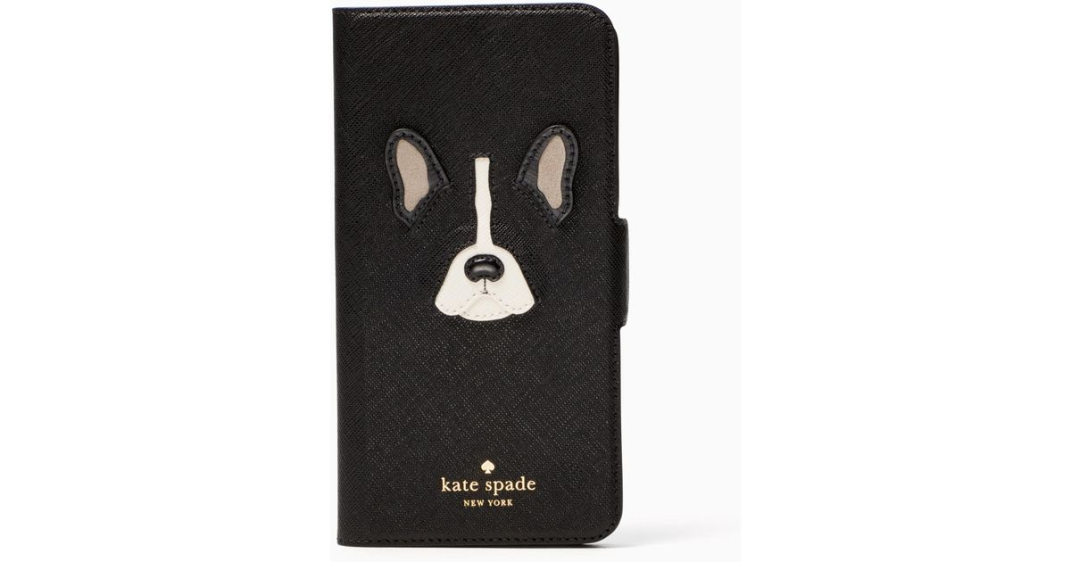 promo code 40e65 5bb5e Kate Spade Black Antoine Applique Folio Iphone 7 Plus Case
