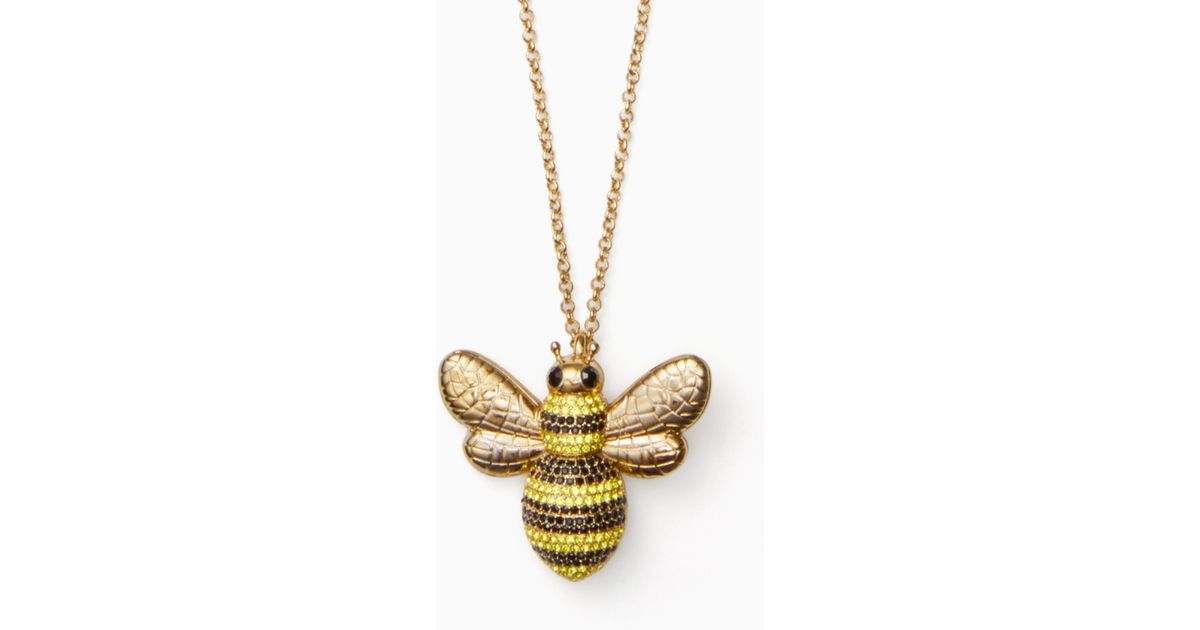 Lyst kate spade picnic perfect pave bee pendant in metallic aloadofball Image collections