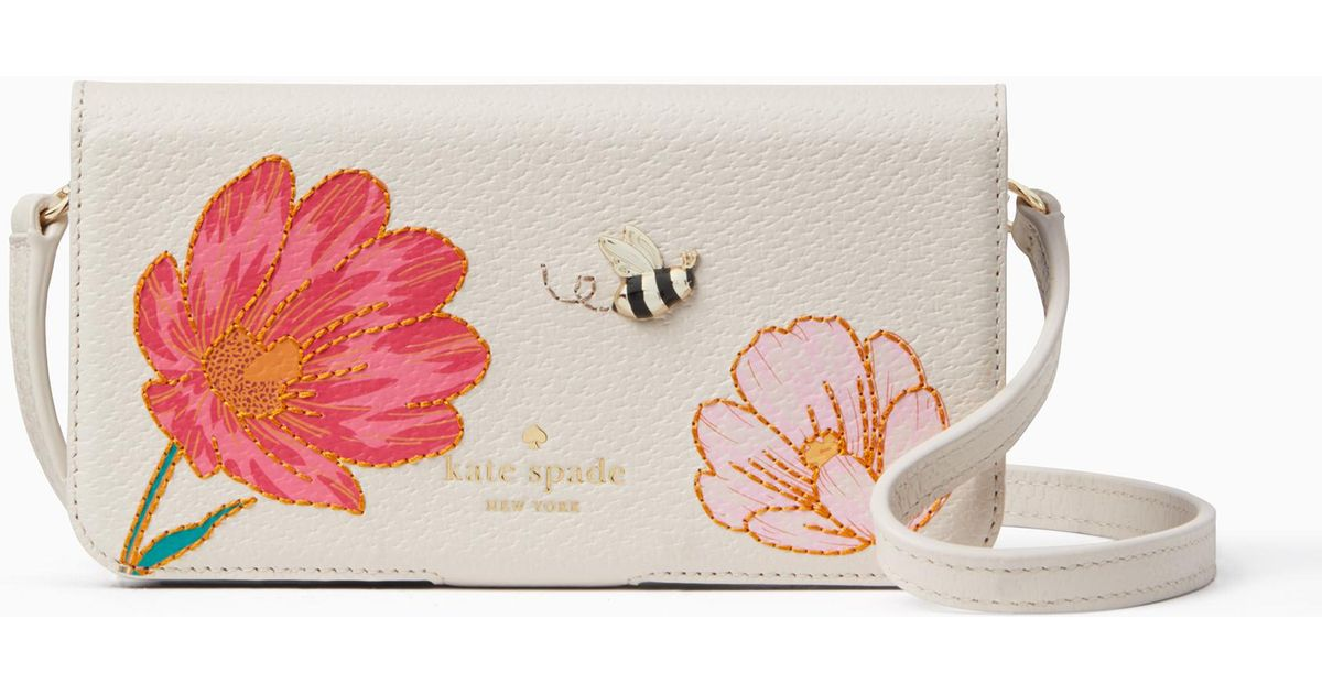 the best attitude 93797 22c5e Kate Spade Embroidered Bee Folio Crossbody Iphone X Case - Lyst