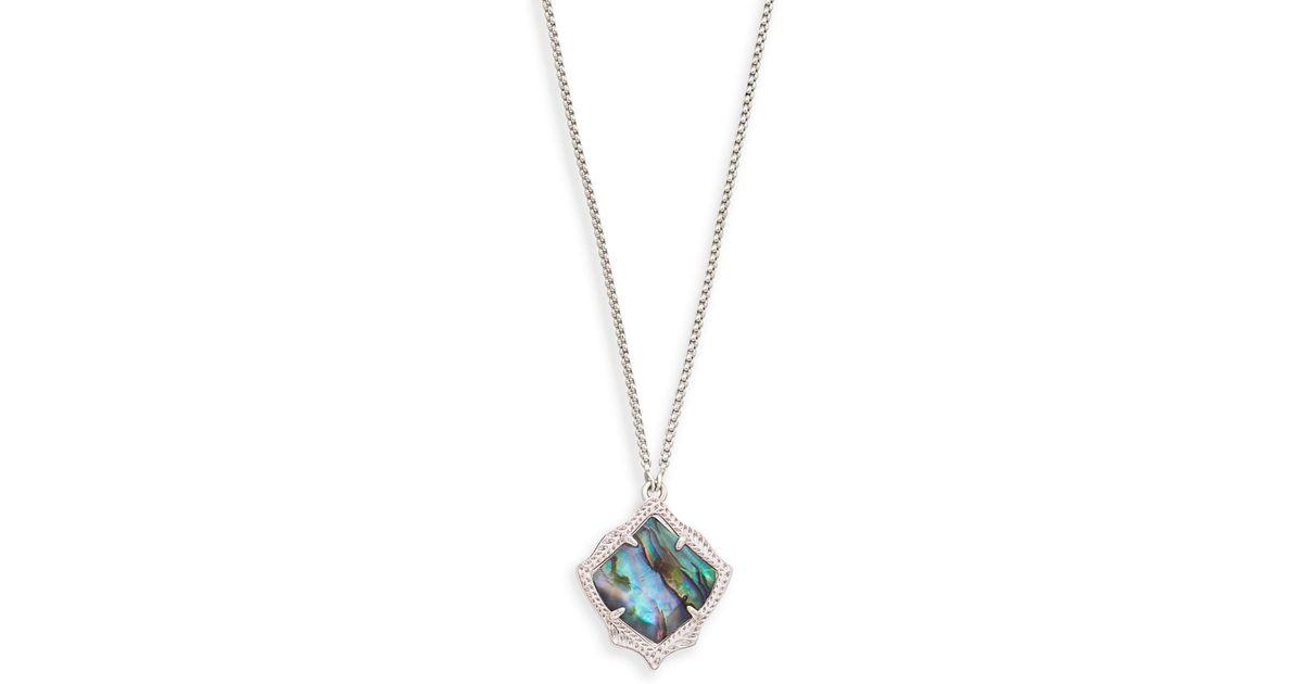 Lyst kendra scott kacey silver long pendant necklace in abalone lyst kendra scott kacey silver long pendant necklace in abalone shell in metallic aloadofball Image collections