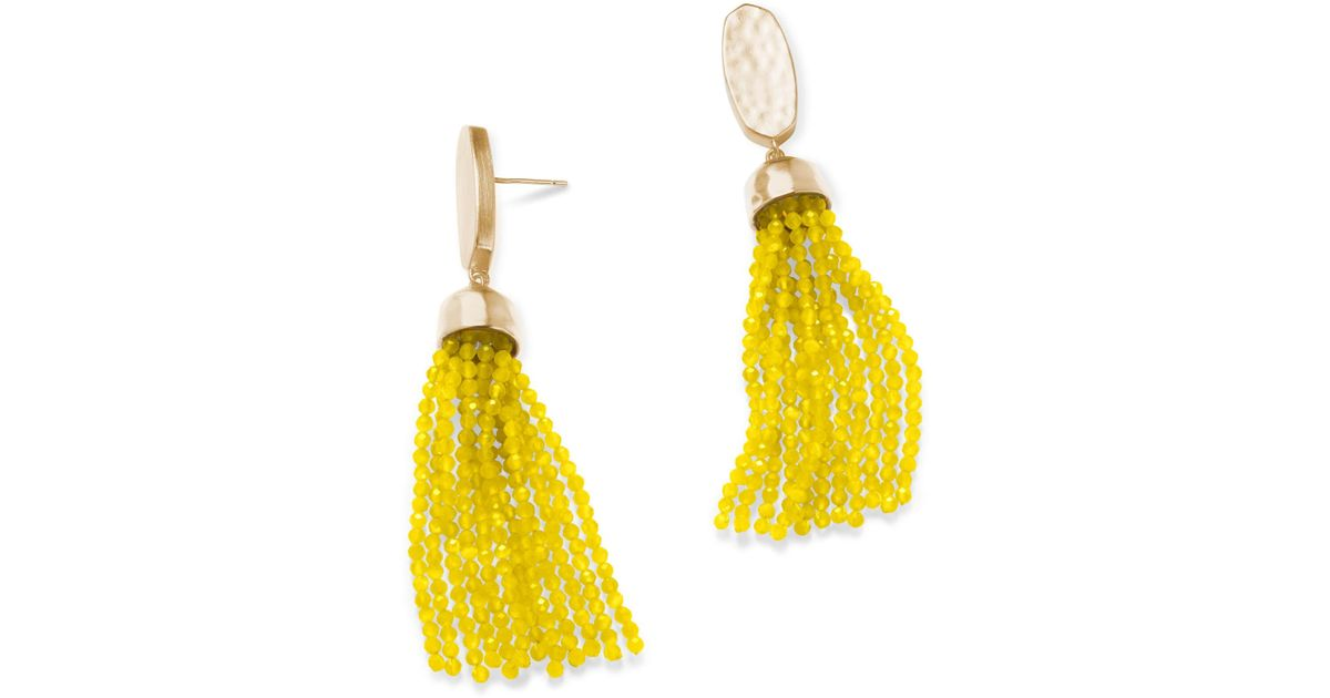 Kendra Scott Yellow Marin Gold Statement Earrings