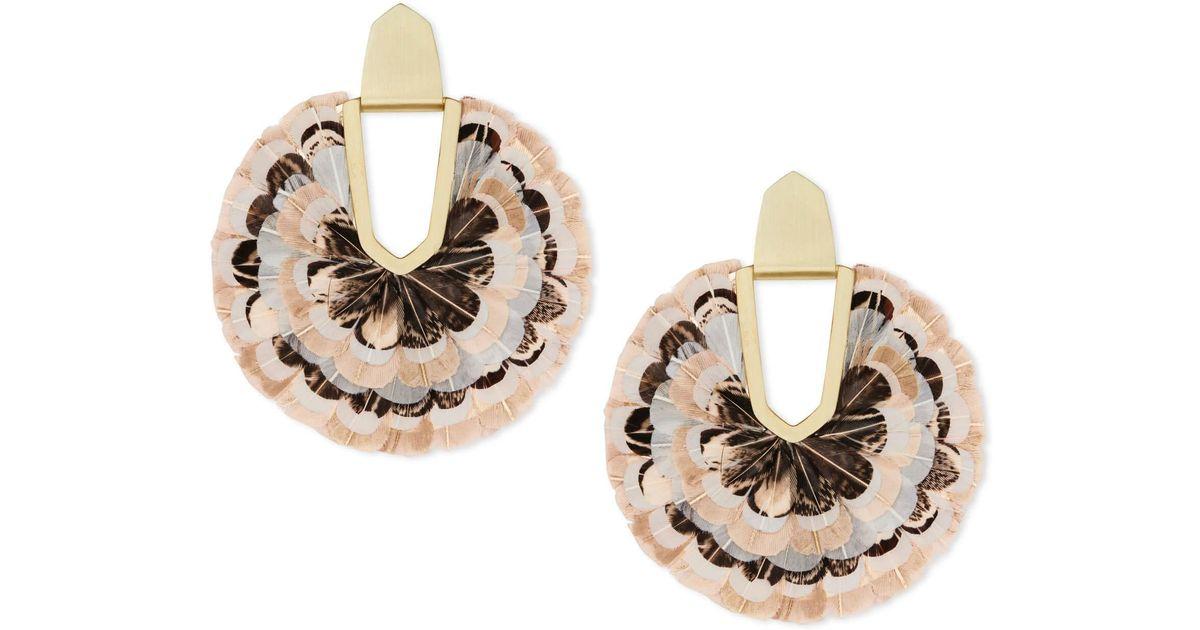 e521316a8fdfe Kendra Scott Metallic Diane Gold Statement Earrings In Ivory Feathers