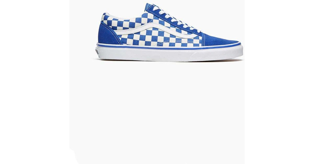 vans old skool checkerboard sneakers in blue