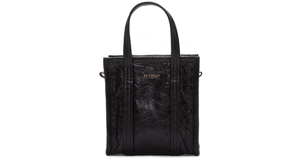9d1ca6d3f09 Balenciaga Arena Leather Bazar Extra-extra-small Shopper Tote in Black -  Lyst
