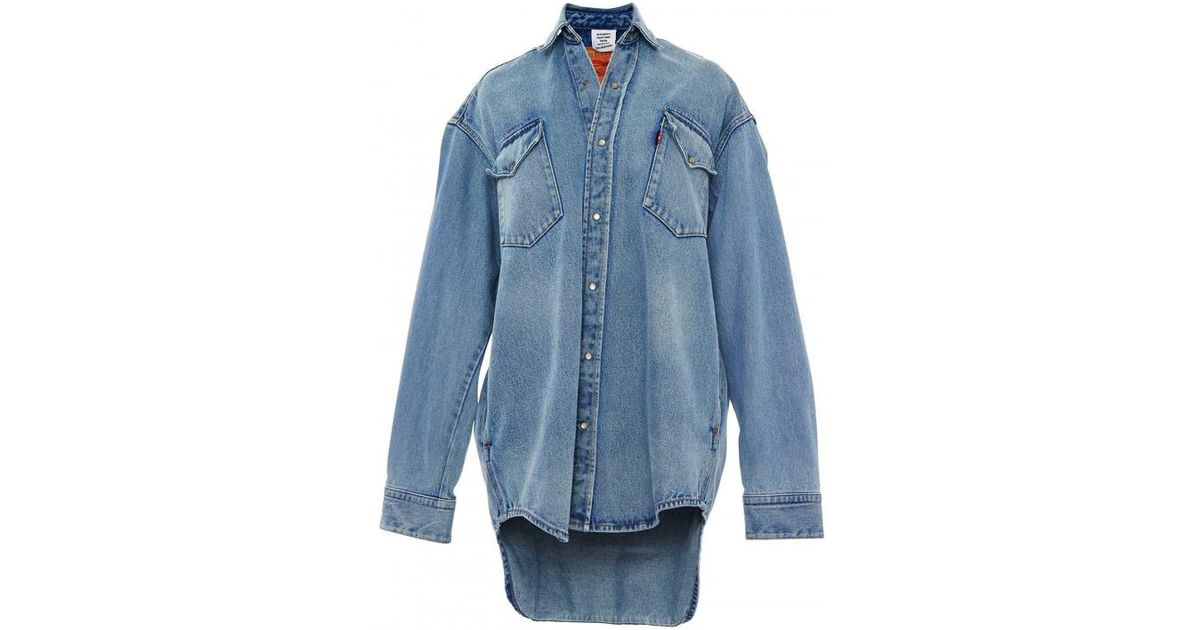 4e717c221 Vetements Levi's Oversized Denim Button Down Shirt in Blue - Lyst
