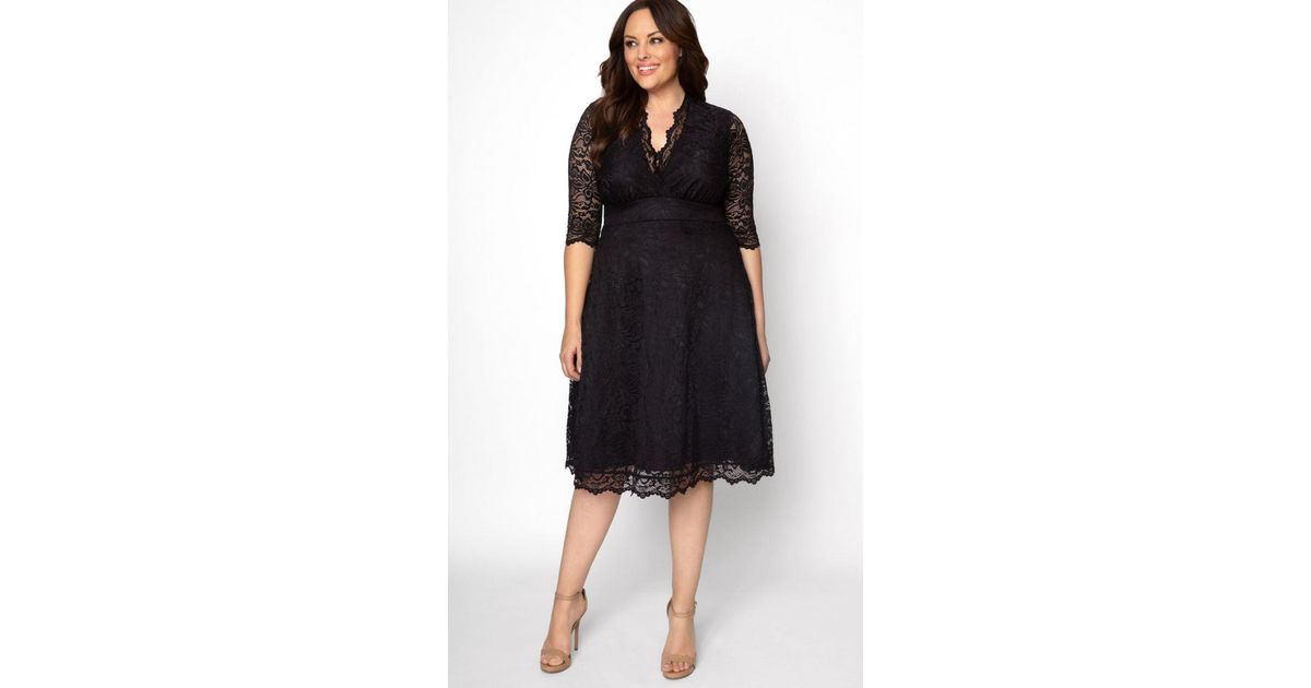 b33ac6cac8e Lyst - Kiyonna Mademoiselle Lace Dress in Black