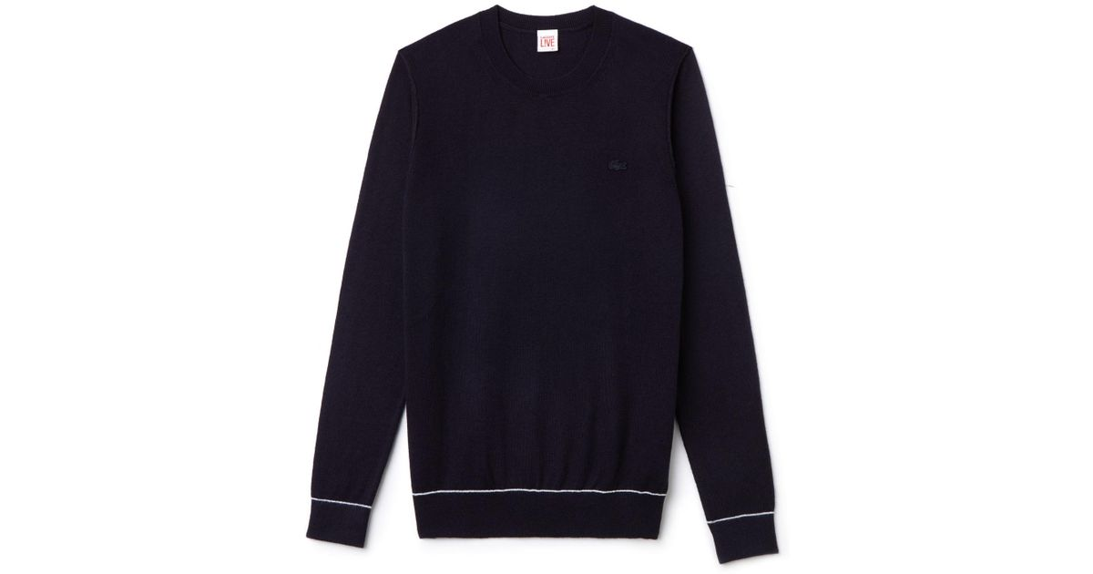 b92b7979b2 Lacoste - Blue Live Crew Neck Cotton And Cashmere Jersey Sweater - Lyst