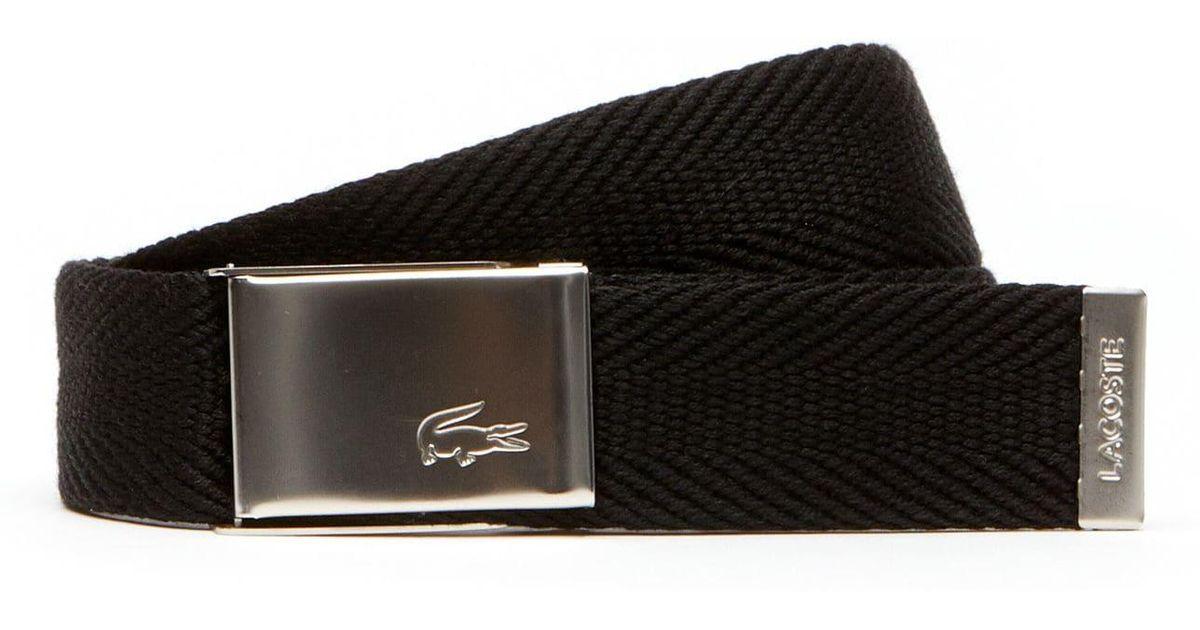 e5d835c0 Lacoste Black Made In France Edition Engraved Buckle Woven Belt Gift Set  for men