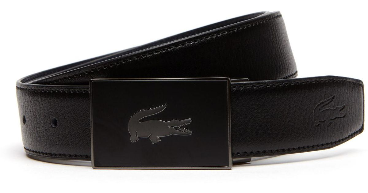 149a8319ee Lacoste Black Reversible Leather Belt And Two Buckles Gift Set for men