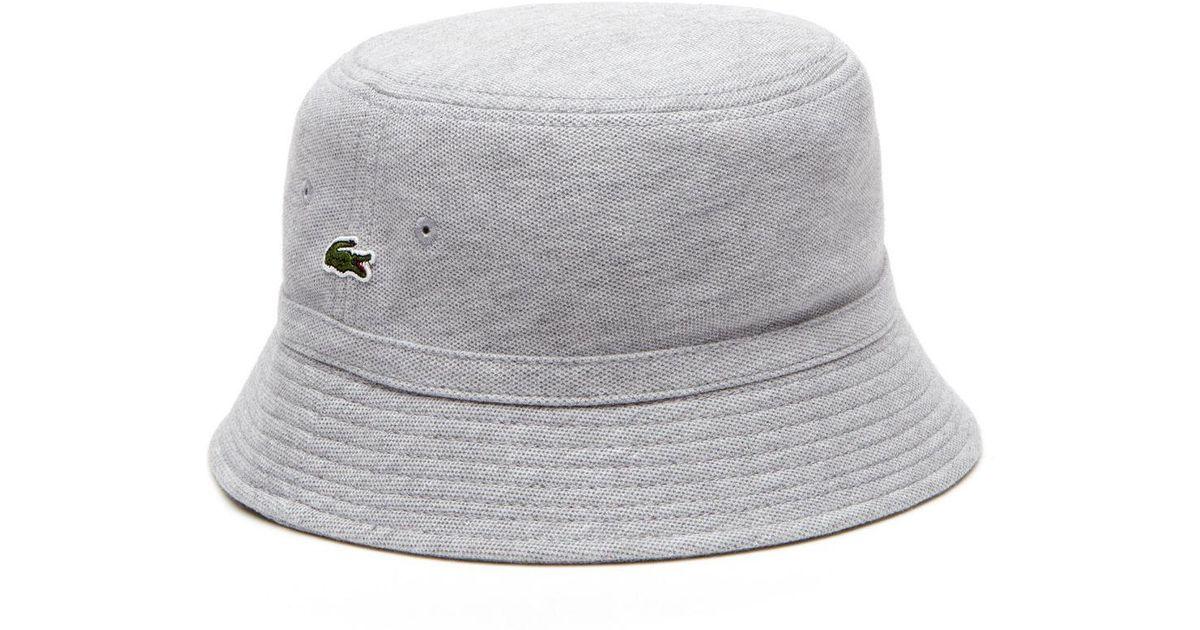 5ddfa085ab4 Lyst - Lacoste Cotton Piqué Bucket Hat in Gray for Men