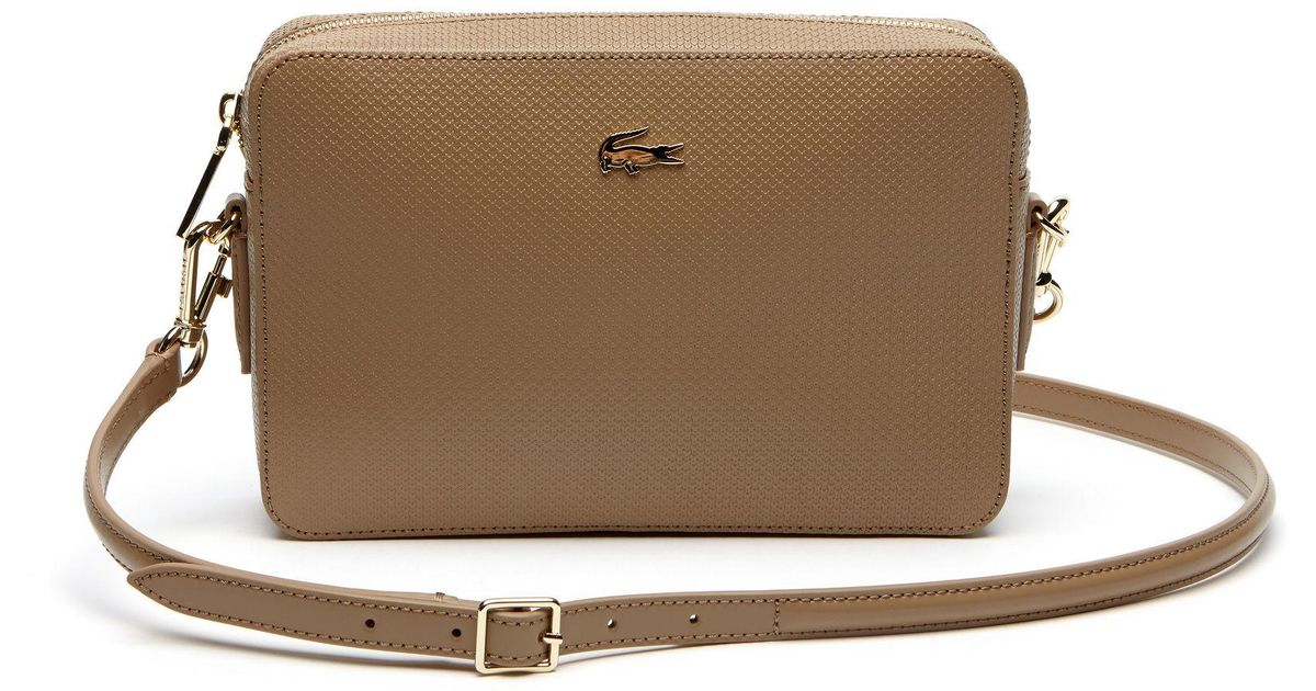 7670f8cd5118 Lyst - Lacoste Chantaco Piqué Leather Square Crossover Bag