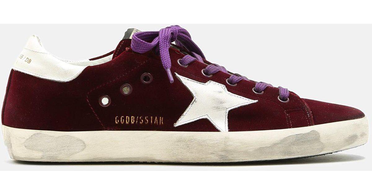 détaillant en ligne f8e95 9459e Golden Goose Deluxe Brand Multicolor Superstar Bordeaux Velvet Sneakers