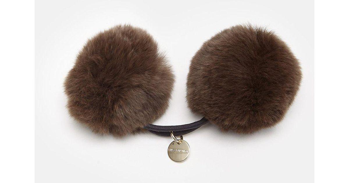 21110f76187 Lyst - Army by Yves Salomon Rabbit Pom Pom Hair Tie