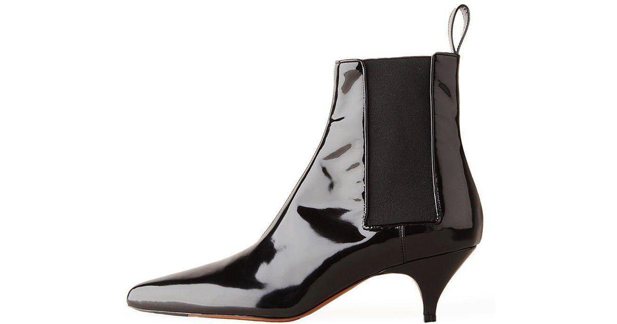 3552fb7b5e0 Rochas Black Pointed Kitten Heel Boot