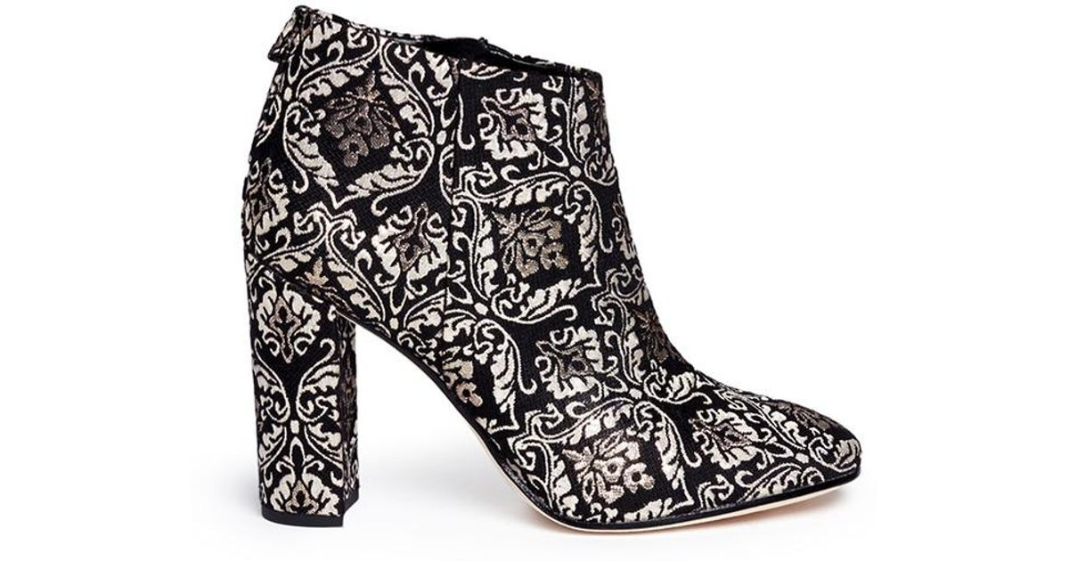 e1b0ae60729f Lyst - Sam Edelman  cambell  Floral Damask Ankle Boots in Black - Save 66%