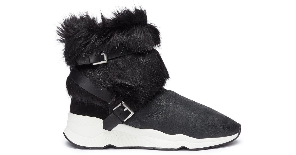 26a741122e7 Ash Black 'moloko S' Belted Faux Fur Panel Leather Sneaker Boots