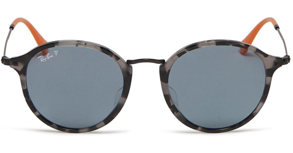 e190689bff ... cheap lyst ray ban fleck tortoiseshell acetate front metal round  sunglasses 692da 2c53a