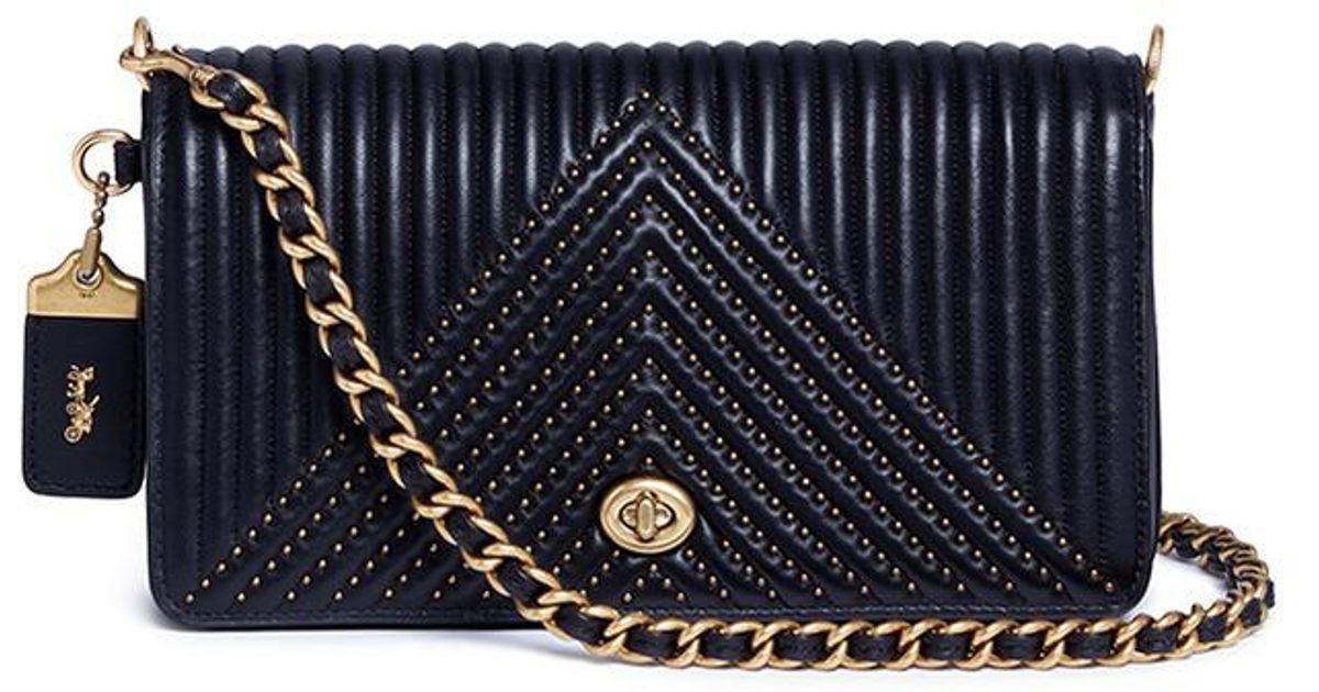 b8336726bad COACH  dinky  Rivet Quilted Leather Crossbody Bag in Black - Lyst