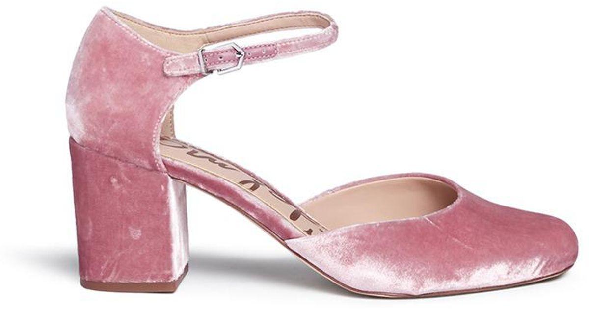 0edaf857b74b Lyst - Sam Edelman  clover  Block Heel Velvet D orsay Pumps in Pink
