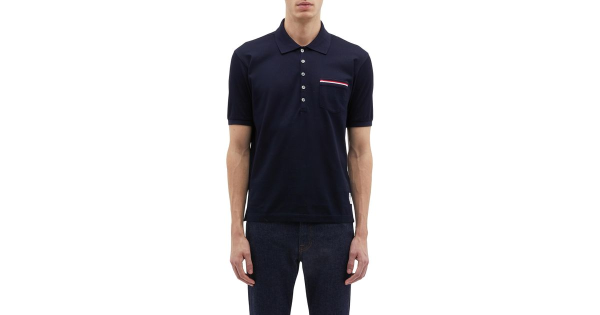 be94b511f Lyst - Thom Browne Stripe Pocket Jersey Polo Shirt in Blue for Men