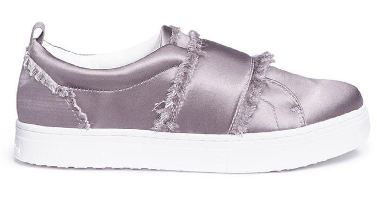 1eff755a5a23 Lyst - Sam Edelman  levine  Frayed Satin Flatform Sneakers