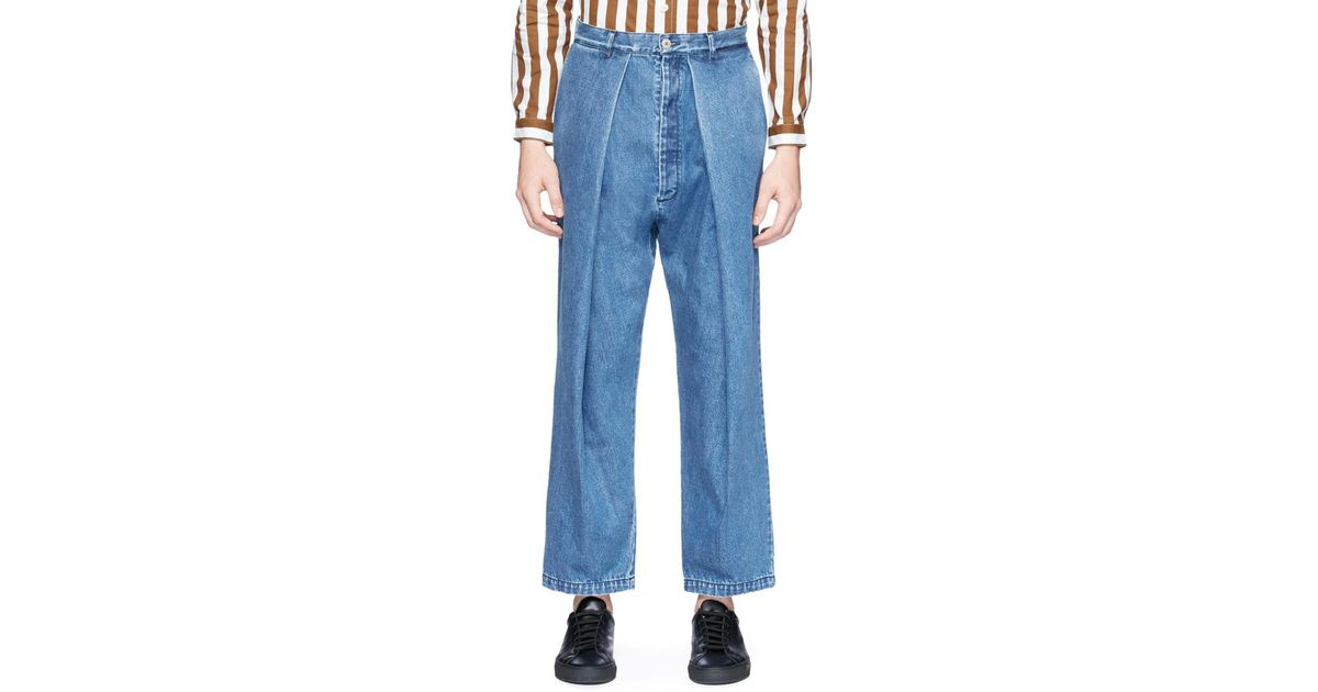aab5c7c9aa96 Lyst - Sunnei Wide Leg Raw Denim Pants in Blue for Men