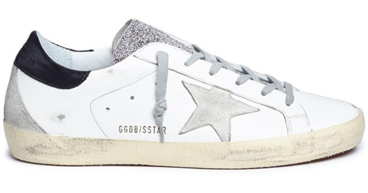 more photos 7278a d3ef7 Lyst - Golden Goose Deluxe Brand  superstar  Glitter Tongue Brushed Leather  Sneakers in White
