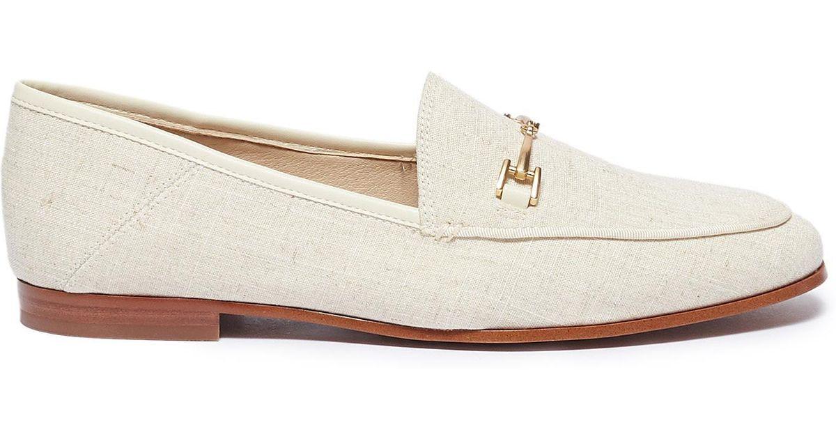 60eea9aa4 Sam Edelman  loraine  Horsebit Linen Step-in Loafers in Natural - Lyst
