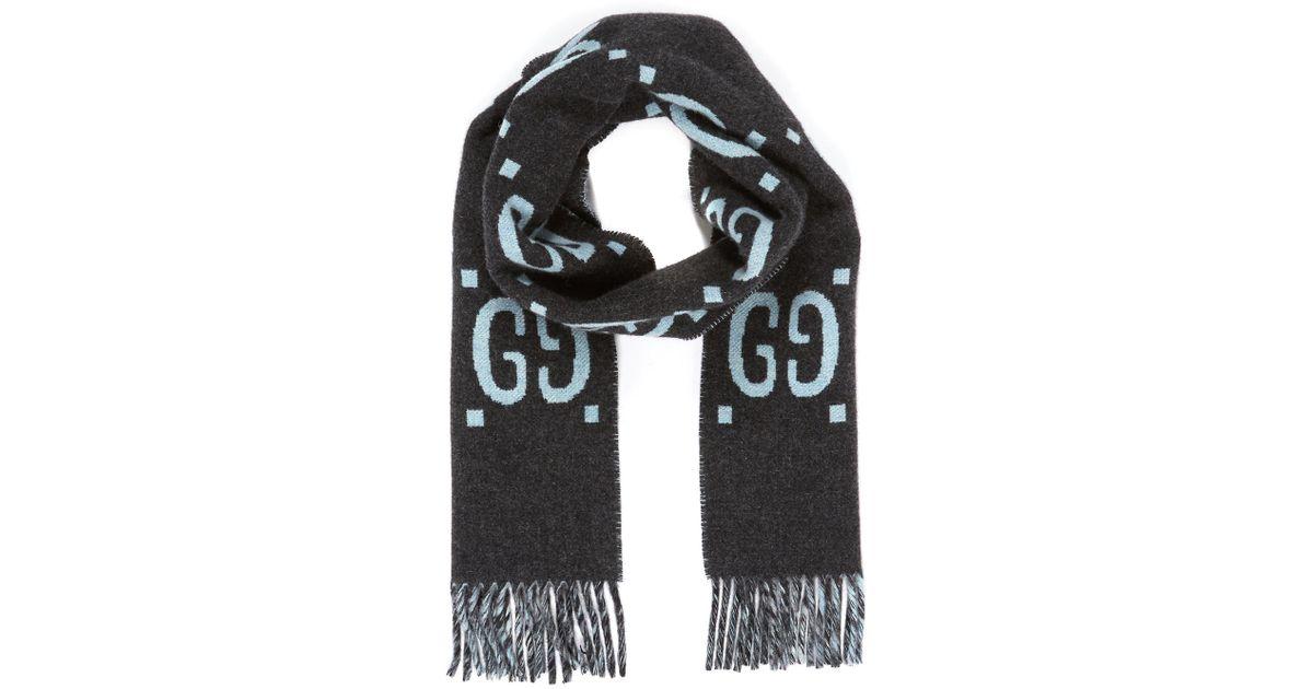 8f9bf3f805080 Lyst - Gucci GG Logo Intarsia Wool Scarf in Black for Men