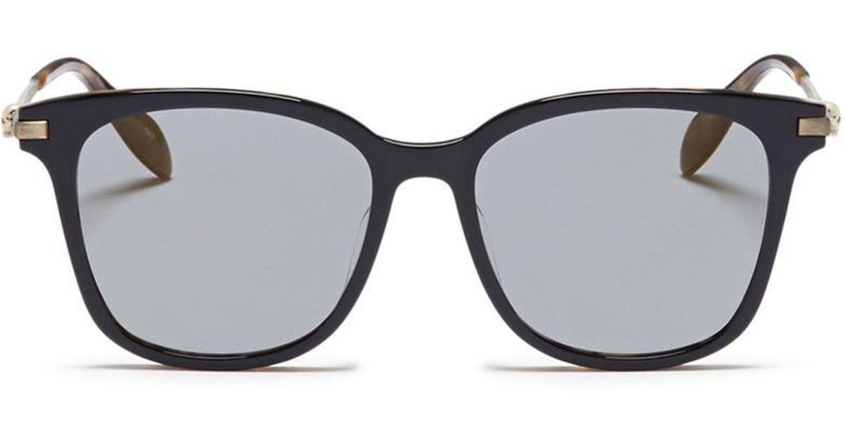 e4070fe830c6 Lyst - Alexander McQueen Skull Hinge Metal Temple Acetate Square Sunglasses  for Men