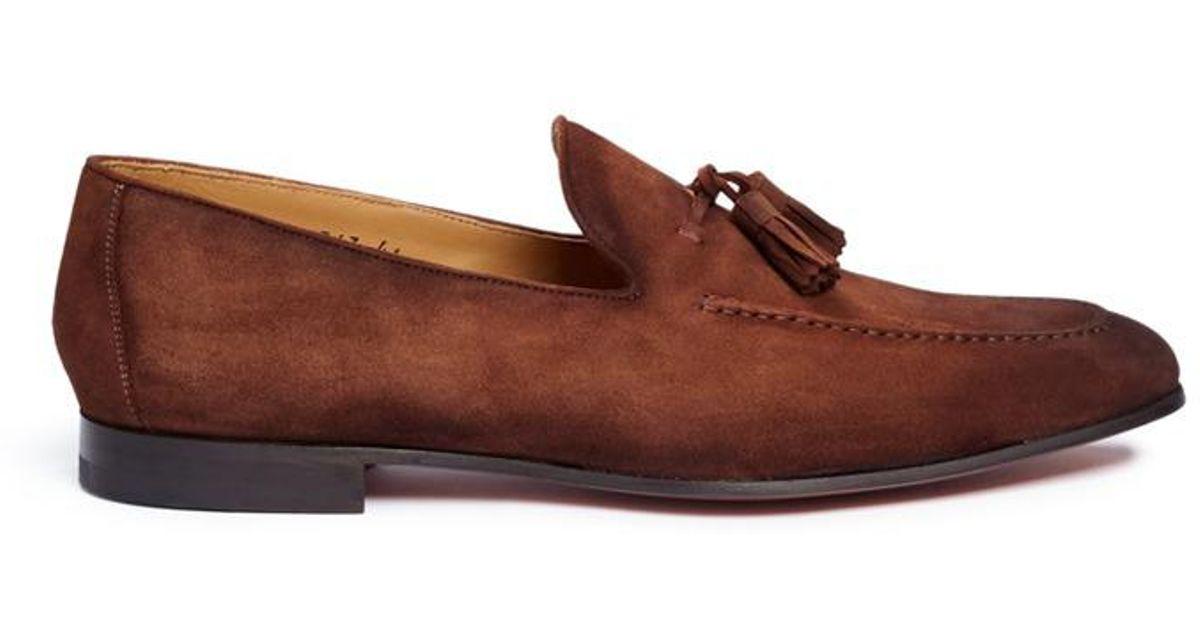 Magnanni Tassel Suede Loafers for Men
