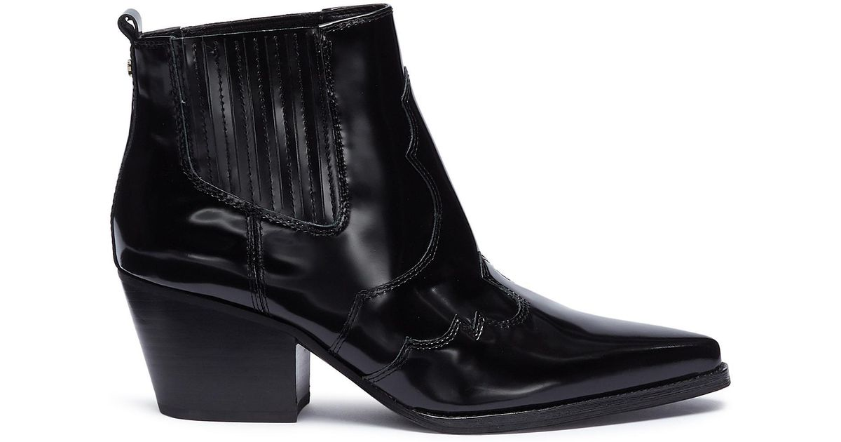 0028ca831eeac Lyst - Sam Edelman  winona  Patent Leather Panelled Ankle Boots in Black