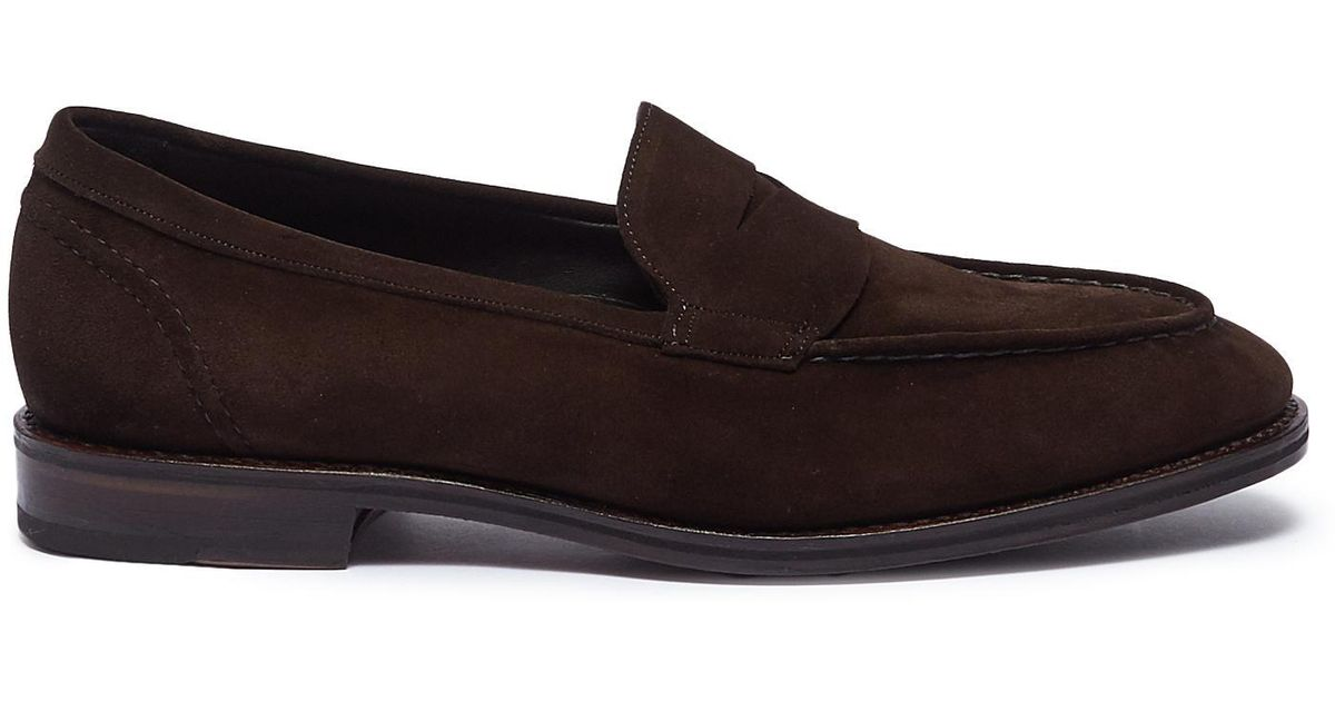 746bcb54745 Lyst - Allen Edmonds  mercer Street  Suede Penny Loafers in Brown for Men
