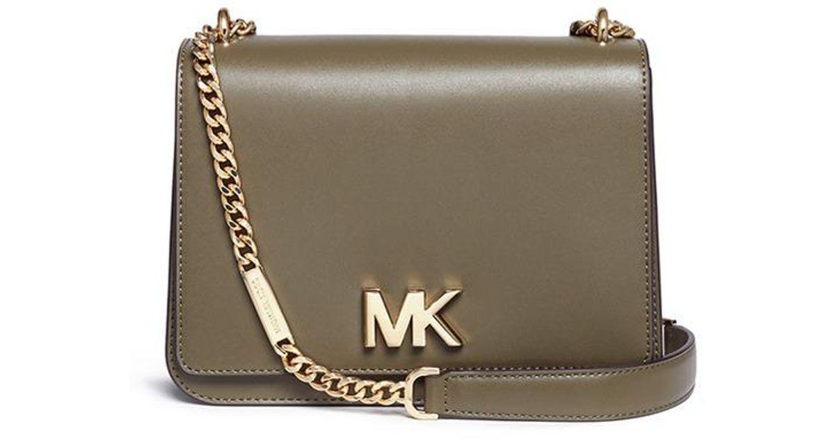 3a4ccfc87885c Michael Kors  mott  Large Curb Chain Leather Shoulder Bag - Lyst