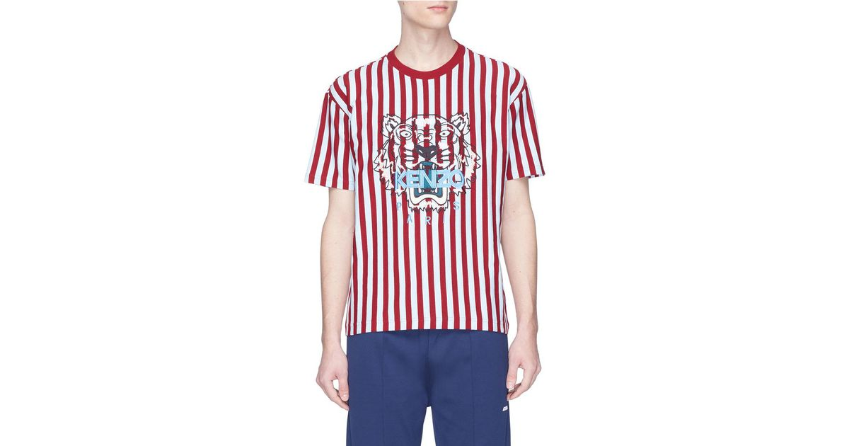 7a27ab41d KENZO Tiger Embroidered Stripe T-shirt in Red for Men - Lyst
