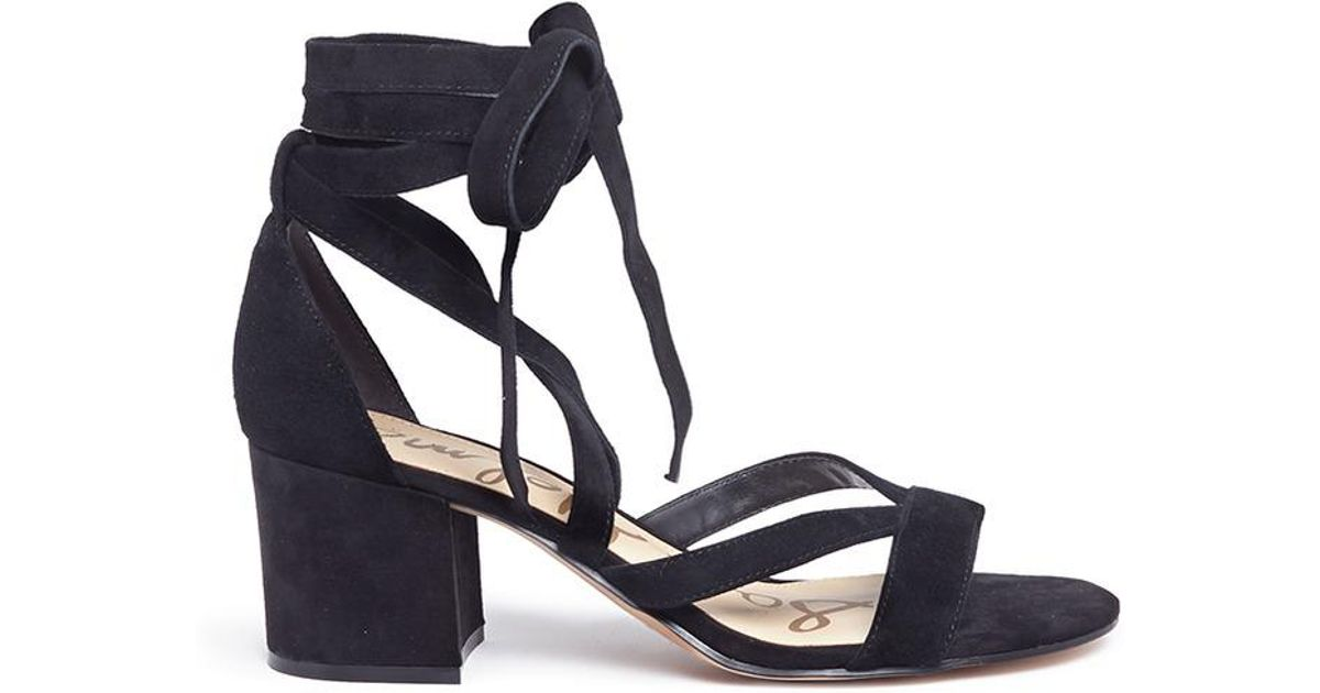d8f81615756 Sam Edelman  sheri  Ankle Tie Block Heel Suede Sandals in Black - Lyst