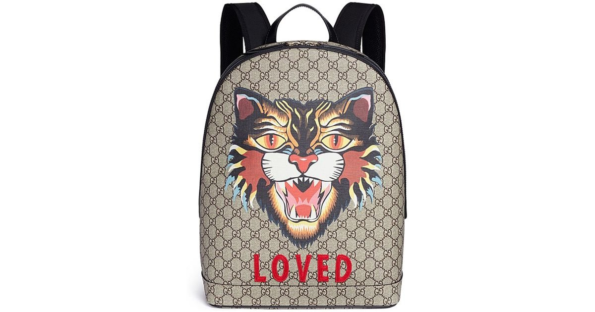 4ca1dc74b Gucci 'loved' Angry Cat Print GG Supreme Canvas Backpack for Men - Lyst