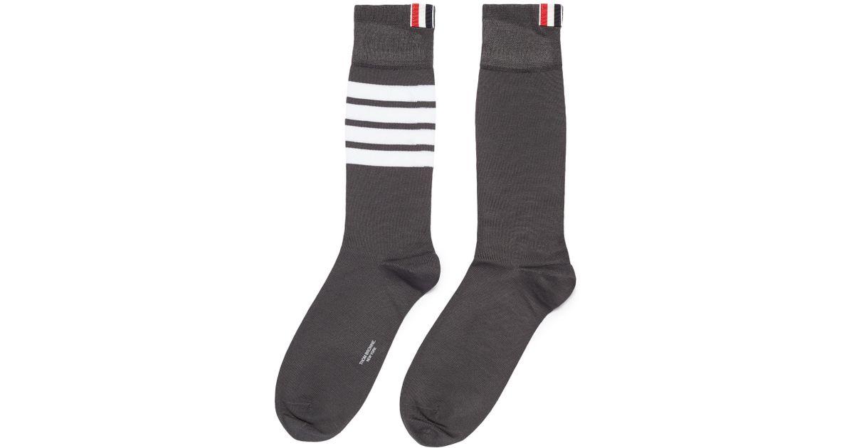 2fa8cbe5b05 Thom Browne Stripe Socks in Gray for Men - Lyst