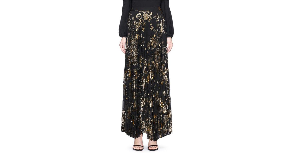 214f41cf4b Alice + Olivia 'shannon' Sun Print Plissé Pleated Chiffon Maxi Skirt in  Black - Lyst