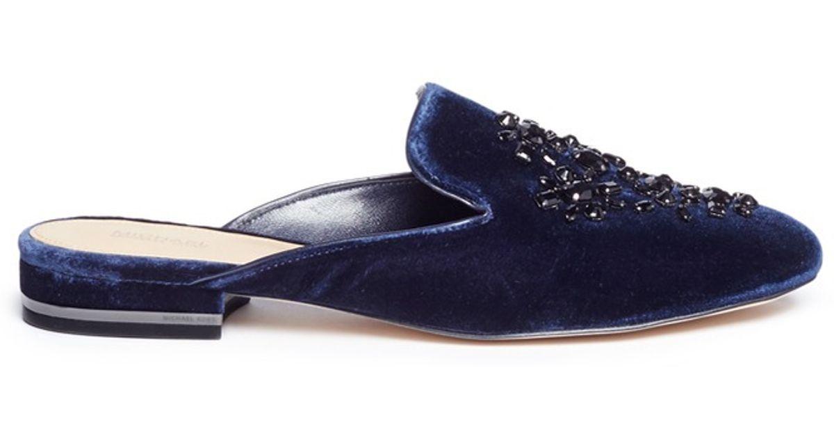 abd93076e8af Lyst - Michael Kors  edie  Embellished Velvet Slide Slip-ons in Blue