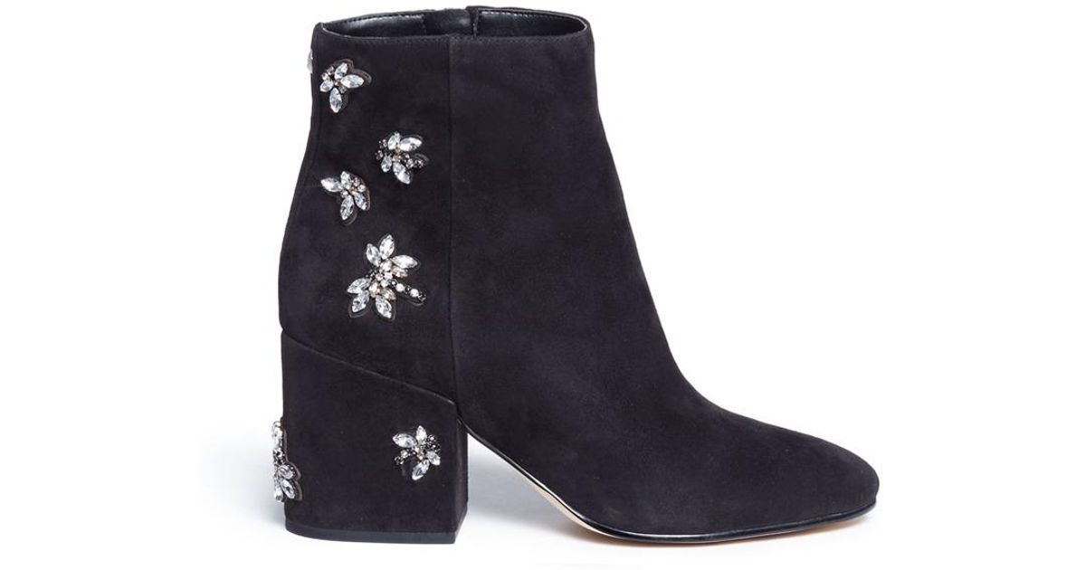 092782367 Lyst - Sam Edelman  taye  Jewelled Insect Suede Ankle Boots in Black