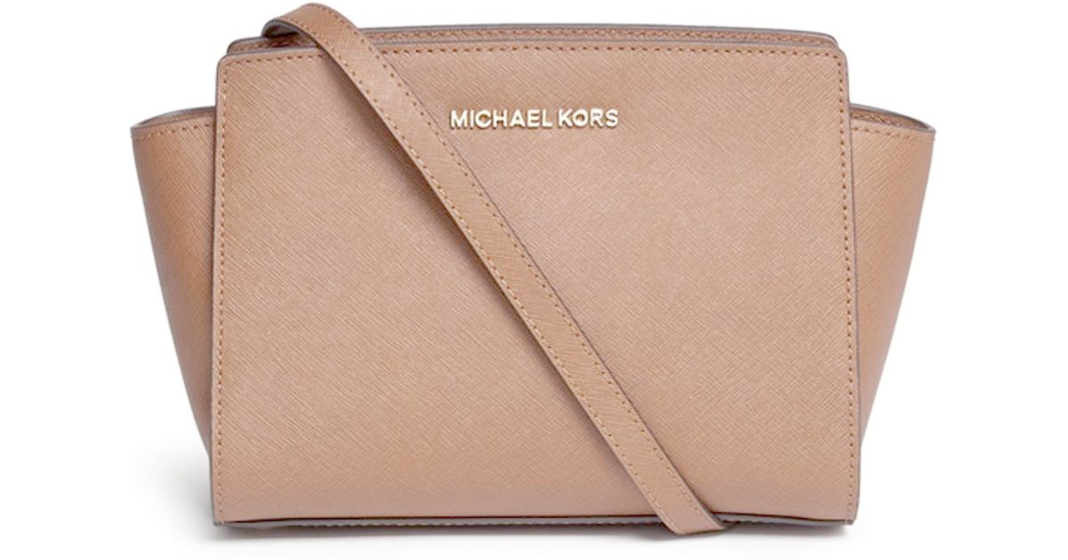 be83e1e195a5 Michael Kors  selma  Medium Saffiano Leather Messenger Bag in Brown - Lyst