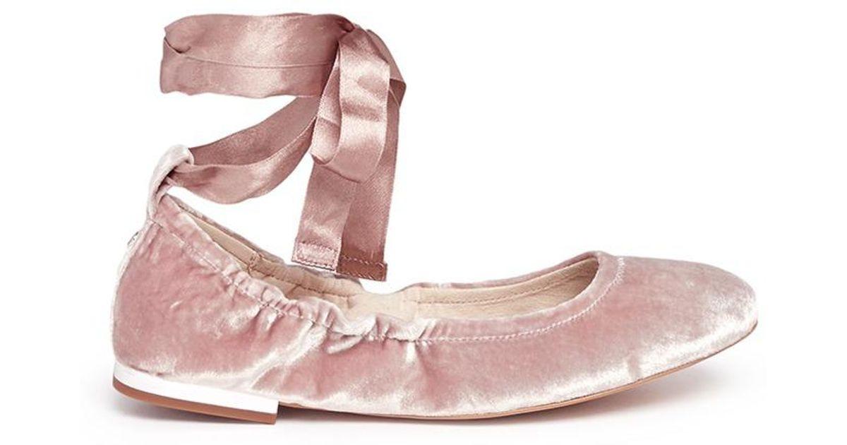afe149329 Lyst Sam Edelman Fallon Ribbon Tie Velvet Ballet Flats In Pink