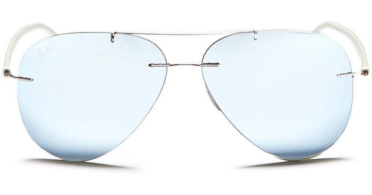 1091b379a97 Lyst - Ray-Ban  rb8058 Light Ray  Frameless Aviator Mirror Sunglasses in  Metallic